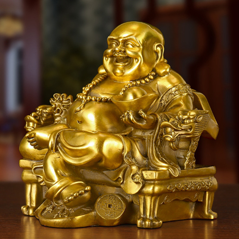 Lucky Maitreya Statue Feng Shui Ornaments Open Light Pure Copper Crafts Treasures Wealth Buddha Home Car Decoration