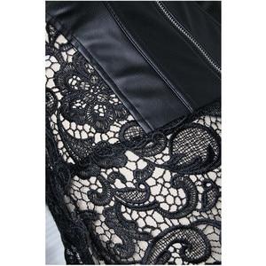 Image 3 - 女性のセクシーな黒のpvcレースコルセットフェチドレスプッシュブラジャー形状ボディ女性エレガントなドミナトリックスナイトクラブのパテントレザーのコルセット