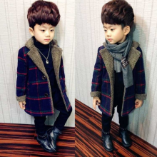 Шерстяные пальто для мальчиков; осенне-зимние куртки для маленьких мальчиков; Длинная стеганая теплая детская одежда в клетку; пальто; верхняя одежда