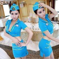 Women Sexy Stewardess Costumes Exotic Mini Uniform Female Elastic outfits Lady Sexy Role Cosplay Sets Hat Top and Skirt