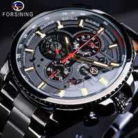 Forsining 2019 3 cadran calendrier multifonction militaire lumineux main hommes mécanique Sport automatique montre-bracelet haut marque de luxe