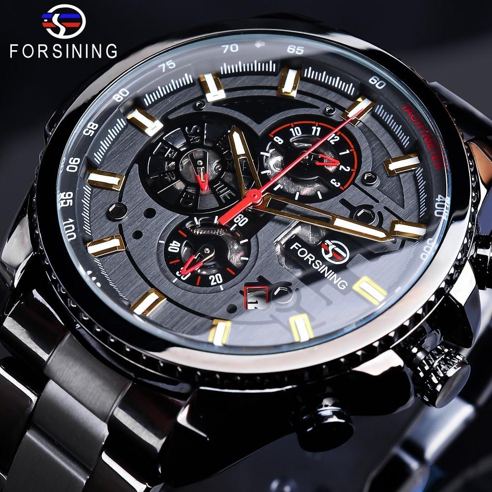 Forsining 2019 3 Dial Calendar Multifunction Military Luminous Hand Mens Mechanical Sport Automatic Wrist Watch Top Brand Luxury