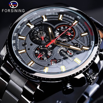 Forsining 2019 3 Dial Calendar Multifunction Military Luminous Hand Mens Mechanical Sport Automatic Wrist Watch Top Brand Luxury top brand luxury forsining mechanical wrist watch men calendar black genuine leather strap popular automatic watch fsg231m3s2