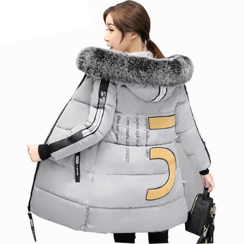 2017 New Winter Jackte Women Parka Long Slim Hooded Cotton Padded Coats Female Thick Faux Fur Collar Plus Size M-3XL LU381 2013 women autumn winter fashion candy color faux wool fur collar hood slim long thick cotton padded coatm l xl d2151