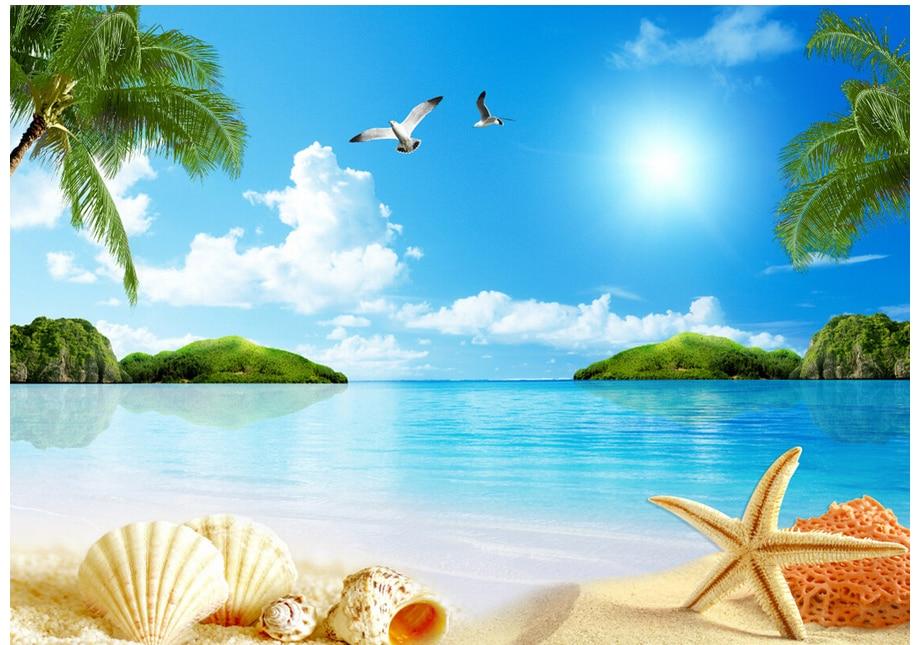 Free 3d Beach Wallpaper: Custom 3D Mural Wallpaper Shell Beach With Coconut Trees