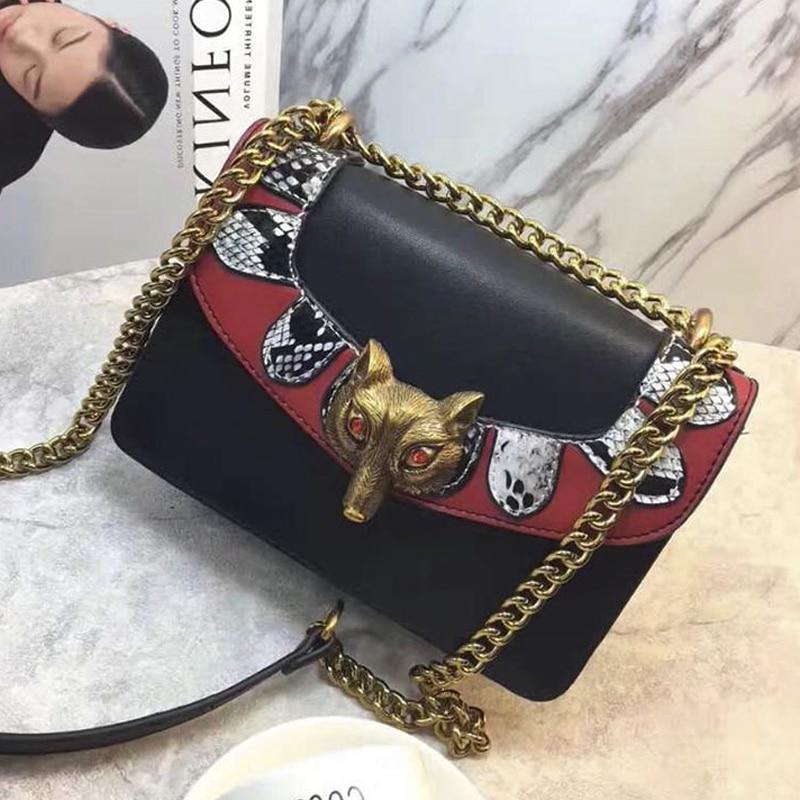 Europe Hot 2017 Fox Rivet Messenger Bag Famous Designer Hit Color Mini Crossbody Bags For Women