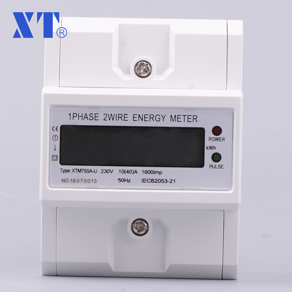 Single phase Din Rail energy meter Current Voltage Power Meter Wattmetter Ammeter Voltmeter Electronic LCD display цена