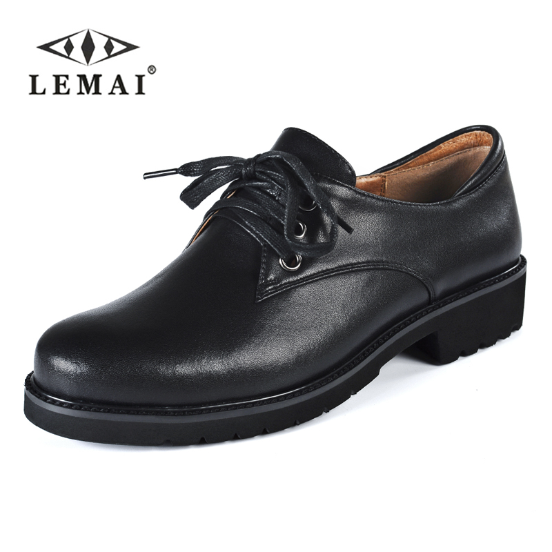 LEMAI Spring Autumn Oxfords Shoes for Women Unisex Genuine Cow Leather Shoes Lace Up Flats Casual Ladies Footwear #K844 2017 men shoes fashion genuine leather oxfords shoes men s flats lace up men dress shoes spring autumn hombre wedding sapatos