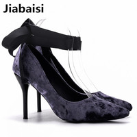 Jiabaisi Shoes Women Pointed Toe 2 7 Or 3 5 Inch Stiletto Heels Velvets Quality Factory