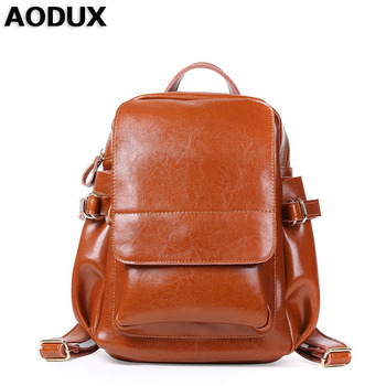 AODUX Genuine Leather Women's Backpack Vintage Large Classic Second Layer Oil Wax Cowhide Backpacks Girl Female Design ipad Bags