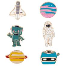 6-Pack Cute Enamel Lapel Pins Sets Cartoon Aircraft astronaut robot planet Brooches Pin Badges for Clothing Bags Backpacks Jacke(China)