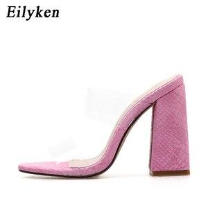 Image 3 - Eilyken PVC 섹시 투명한 핑크 사문석 숙녀 슬리퍼 여름 패션 파티 발 뒤꿈치 신발 검투사 슬라이드 샌들 여성