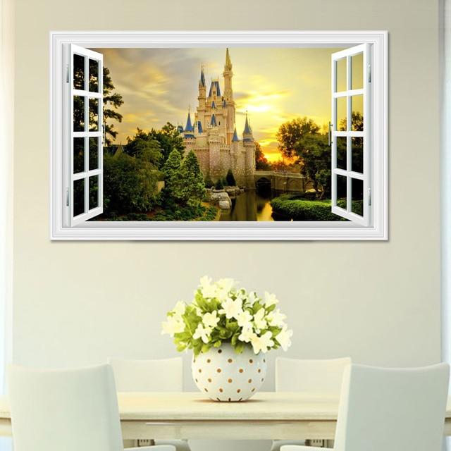 3d window view sunset castle 3d wall sticker green removable wallpaper home decal home decor