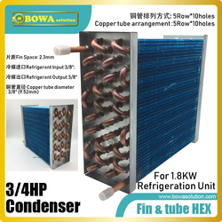 3/4HP fin & tube heat exchanger suitable for supermarket service equipments, such as upright freezers, air curtains and islands