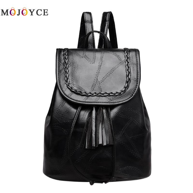 Classic Tassels Solid Black Women Backpack Pu Leather Teenage Girl Shoulder Travel Rucksack Back Pack