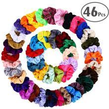 46 шт./компл., винтажные резинки для волос, эластичные бархатные резинки, женские эластичные ободки для девочек, головные уборы, одноцветные резинки для волос