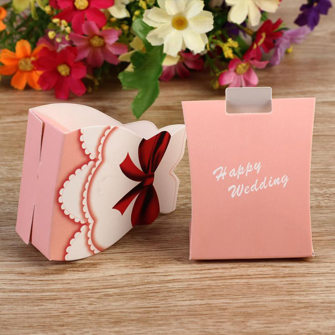 Creative 50pcs Fashion Pink Bride Groom Tuxedo Dress Gown Shape Wedding Favors Candy Gift Box In Bags Wring Supplies From Home Garden On