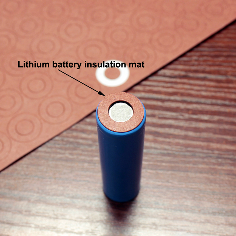Купить с кэшбэком 100pcs/lot Lithium Battery 18650 Positive Hollow Insulating Pad Red Flat Tip Insulated Surface Mat Meson 17*9.0*0.3mm