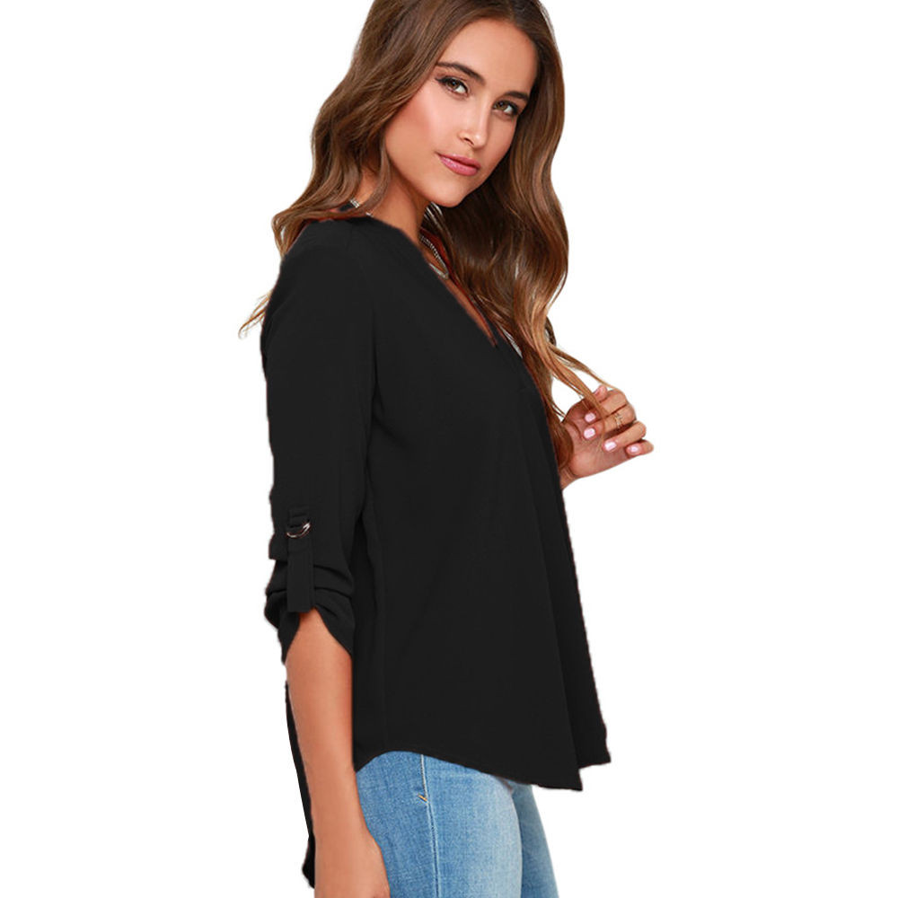 Free Ostrich OL Blouse Tops 2018 Ladies Summer Deep V Neck Blouse Shirts Women Sexy Loose Basic Plus Size Blusas Femininas D30 1