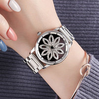 Top Brand Silver Luxury Women Dress Watch Rhinestone Rotate Crystal Quartz Watches Magic Women Wrist Watch Female relojes mujer