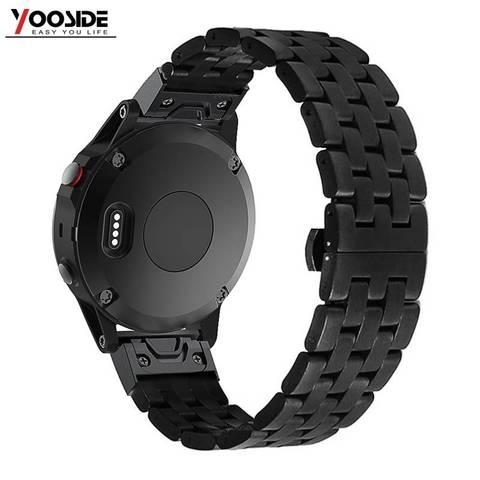 Pulseira de Relógio de Aço Inoxidável com Segurança Fecho para Garmin Yooside Ajuste Rápido Borboleta Fenix 5x – Plus 3 hr 26mm