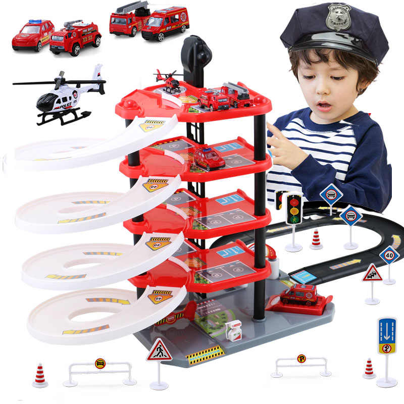 DIY Track 3D Car Racing Track Toys Car Parking lot Assemble Railway Rail Car Toy DIY Slot Model s parking for kids Birthday
