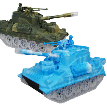 New Electric Light Music Automatic Steering Tank Toy Car Children's Military Vehicle Model Gifts