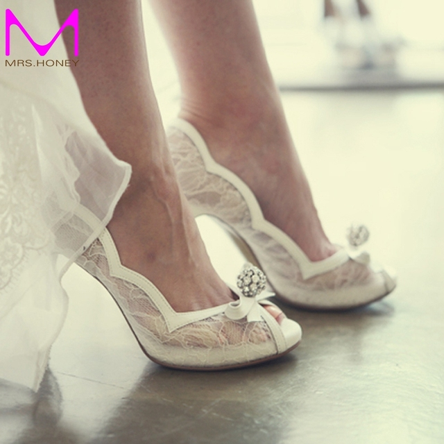 White Lace Peep Toe Wedding Shoes Rhinestone Luxurious Lady High Heels Party Prom Pumps Bridal