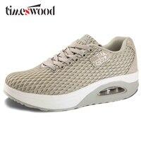 TIMESWOOD 2018 נדנדה חדשה נשים אופנה רשת אוויר נעלי נשי נעלי פלטפורמת נעליים מזדמנים לנשימה נעלי טריז עליית גובה