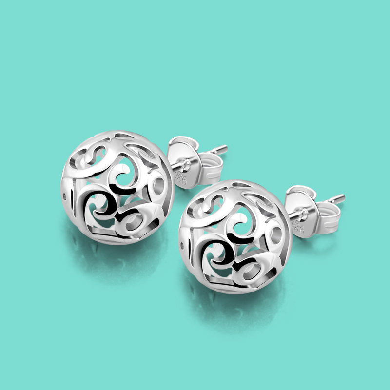 Bohemian style earrings women 925 sterling silver hollow pendant earrings solid silver jewelry lady charm earrings Free shipping