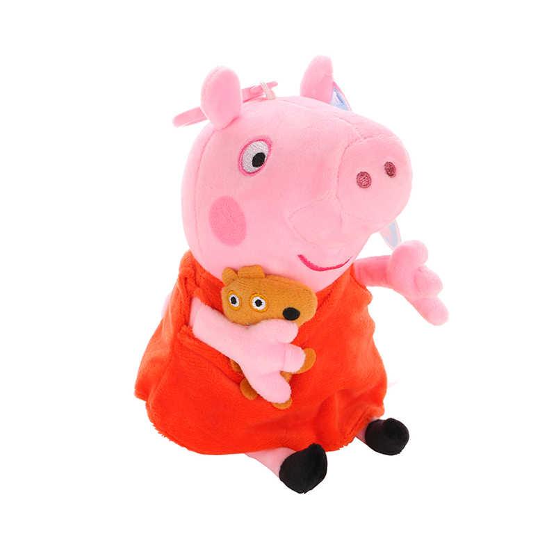 Marca Original pçs/set 4 Peppa Pig Stuffed Plush Toy 19/30 centímetros Peppa George Família do Porco Bonecas Festa de Natal presente de Ano novo Para A Menina