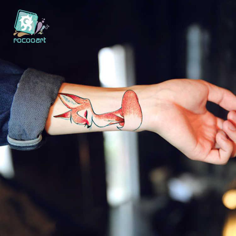 Rocooart kadınlar dövme tilki geçici dövme çıkartmalar Dragonfly Taty çocuklar için küçük sahte dövme vücut sanatı Tatouage sevimli kedi dövme