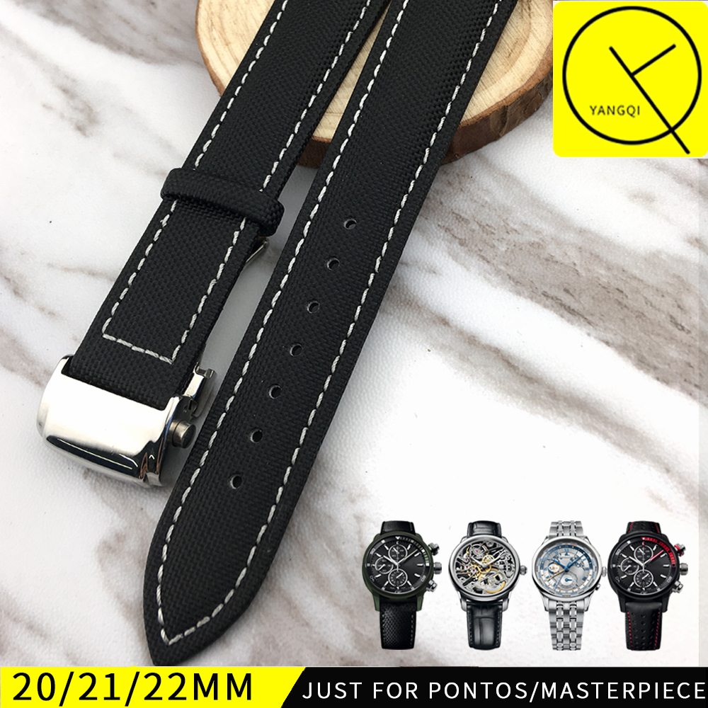 20mm 22mm Nylon Leather Watchband for Maurice Lacroix for Masterpiece Pontos Deployment Buckle Watch Bracelet Strap Watch Wrist maurice lacroix pontos s diver pt6248 pvb01 332 1