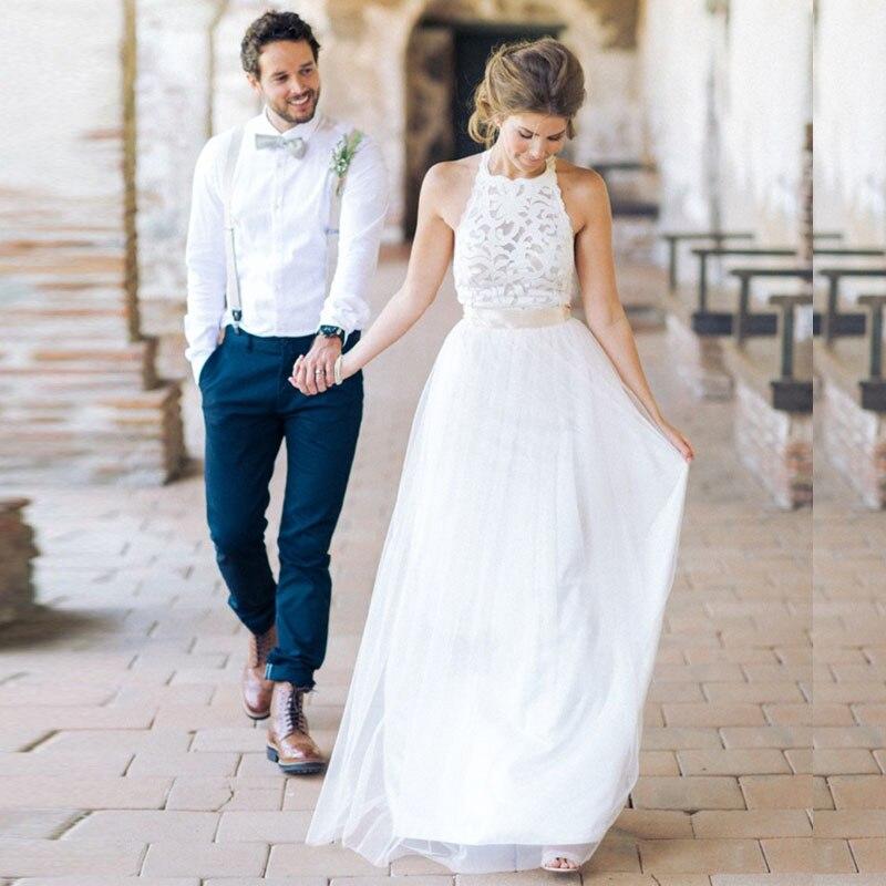 Boho Beach White Lace Wedding Dresses 2018 Women Tulle Halter