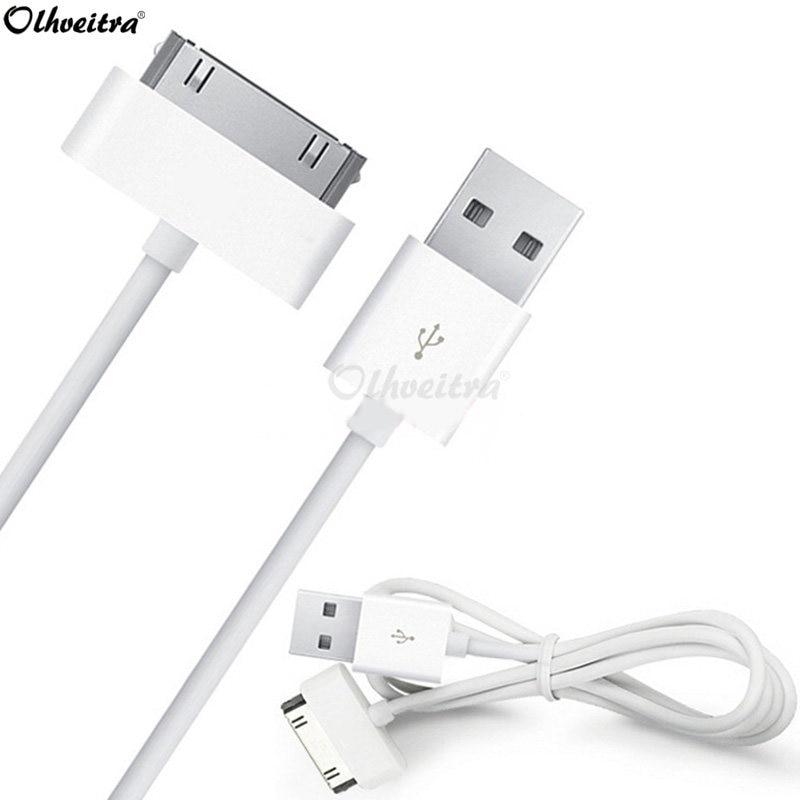 Cherie de cargador de Cable de datos USB para iPhone 4 4S iPod Nano iPad 2 3 iPhone 3GS 3 4 4G 4 s Cable de carga de 30 Pin 1M Teléfono Cable de carga