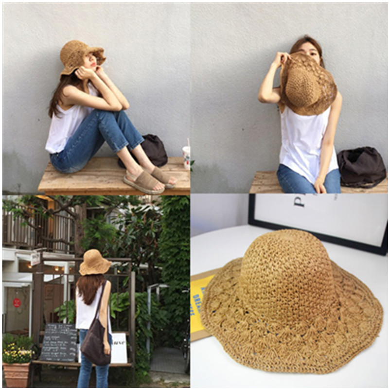 Summer Bucket Hats Women Fashion Hand-Made Along The Straw Hat Beach Sun Fisherman's Hat Foldable Brimmed Straw Hat