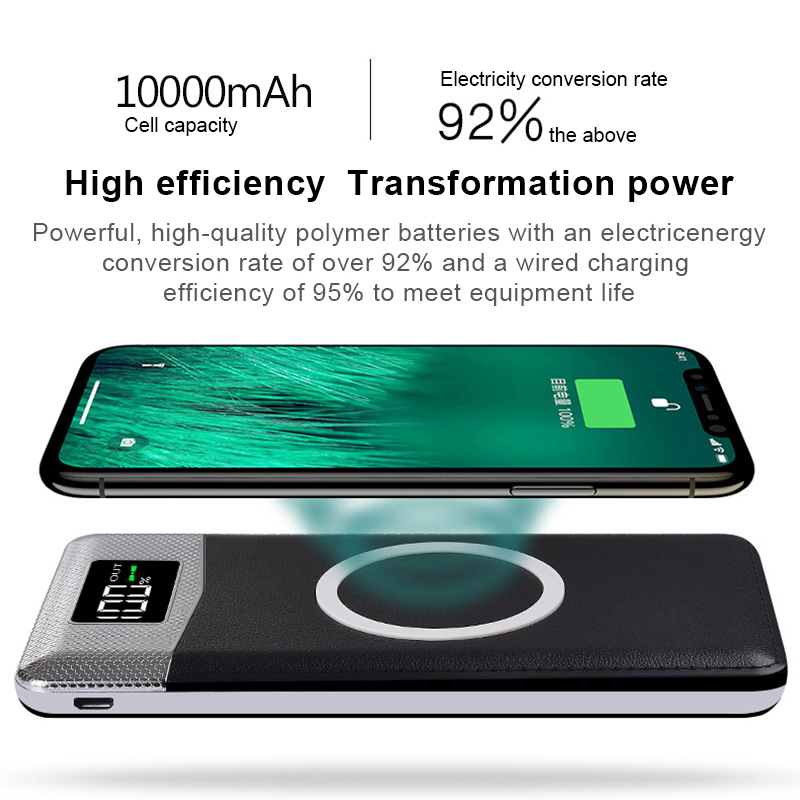 10000mAh Qi Wireless Charger Charging Pad For iPhhone X 8 Plus External Battery Dual USB Phone Power Bank For Samsung S9 S8 S7