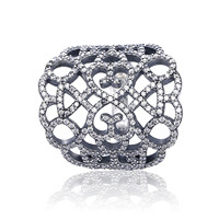 Authentic 925 Sterling Silver Ring Openwork Shimmering Lace With Crystal Ring For Women Wedding Party Gift