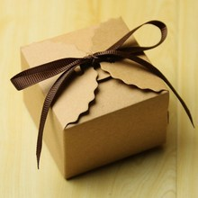 50pcs Solid Vintage Retro White Kraft Mini Paper Box Wedding Favors Candy Bags Party Valentines Day