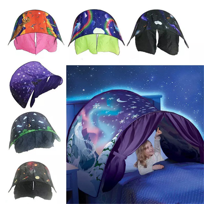 Kids Sleeping Dream Toys Tent with LED Play House Pop Up Tents Chidren Home Indoor Folding Tent Gift
