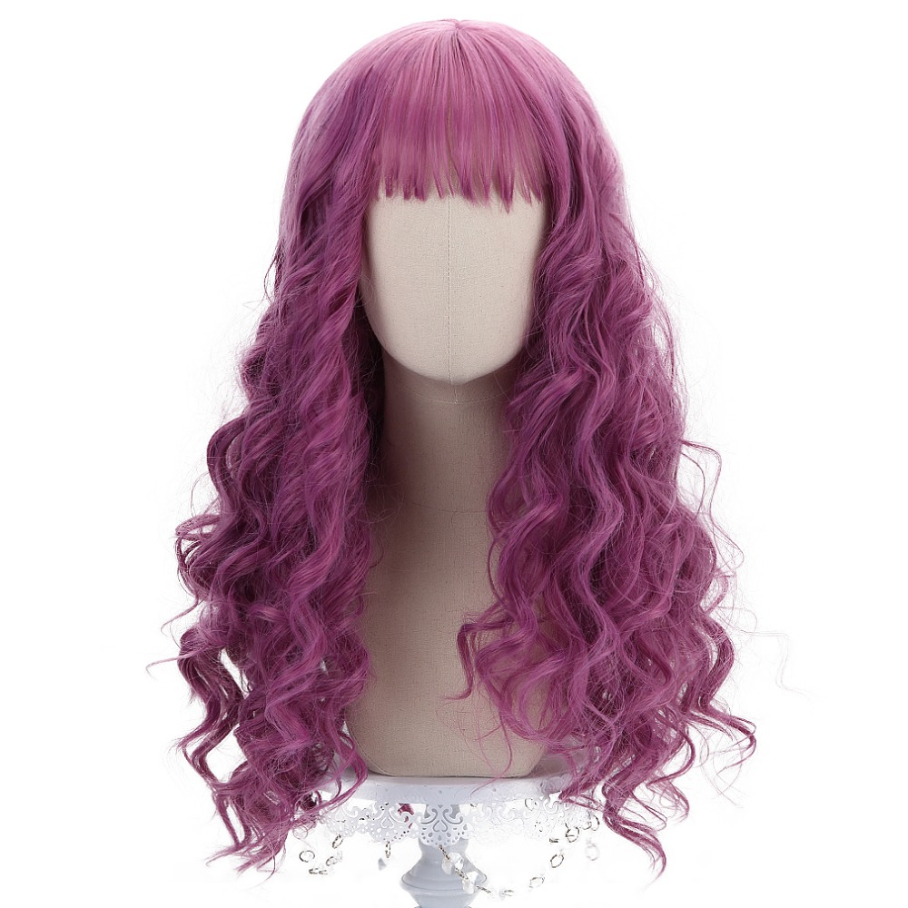 Long Wavy Mal Cosplay French Rose Lavender Hair Wigs Bangs 24'' Anime Cartoon Synthetic Wigs For Descendants Costume HP-C-13