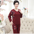 Plus sizes Ponte roma fabric 2 piece set women suit Appliques Thick full sleeve tops and slim pants solid Elastic cotton Leisure