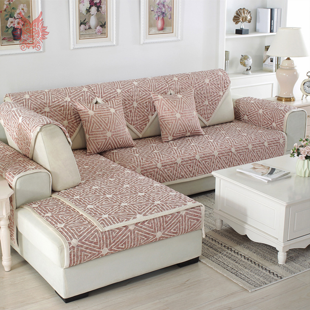 European pink grey geometric quilted sofa cover cotton linen slipcovers for living room furniture sectional couch covers sp5013 in sofa cover from home