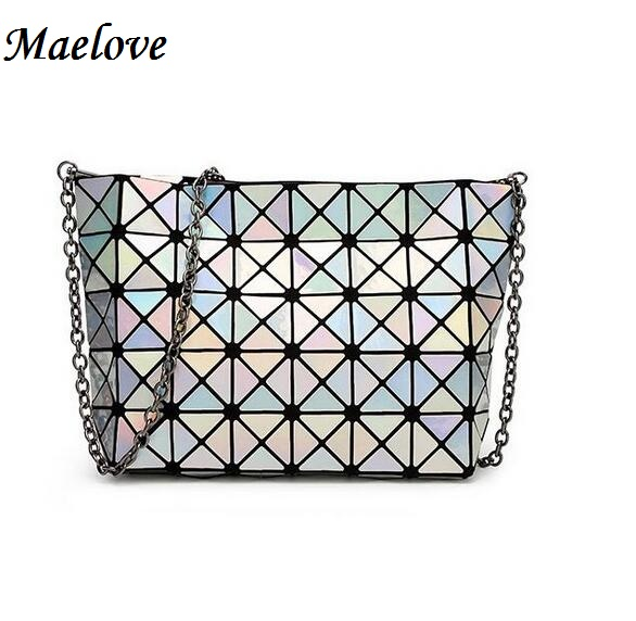 Maelove Hot hologram bag women Geometric handbag crossbody bag hologram laser silver bag Free Shipping PROMOTION 2015 vintage hologram bag folding hand strap zipper day clutch bag laser hologram envelope bag