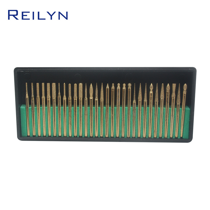 30 Pcs Tool Abrasive Titanium-plated Diamond Grinding Point 120# 3x3mm Raw Stone Peeling Jade Grinding Bits