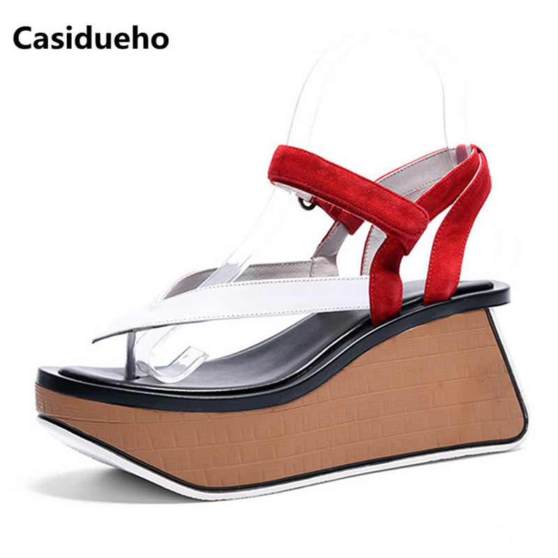 Casidueho Women Platform Sandals Mixed Color Leather Wedge Shoes Woman Flip Flops Sexy Strap Pumps Summer New Slippers Sandals casidueho women platform sandals high heels wedge shoes woman big size summer pumps mixed color leather gladiator sandals shoes