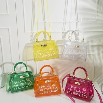 Fresco y Playa bolsa transparente las mujeres claro grande orange transparente de pvc de las mujeres bolsa de plástico jalea PVC bolsos carta bolsa de impresión