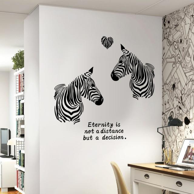 Noir blanc amour zèbres stickers muraux chambre à coucher de mode animal décor pour salle de