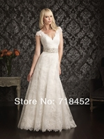 2014 Vintage Lace Bridal Gowns Beaded Waist 1940 S Wedding Dresses A Line Short Sleeves Vestido