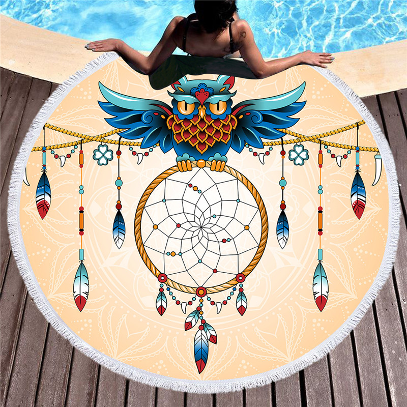 Owl Printed Large Round Beach Towel for Adults Mandala Microfiber Summer Towel Yoga Mat 150cm Blanket Soft Bath Towel Tapestry